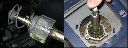 Place The Retaining Collar Over Shifter And Line Up Bolt Holes Notice Orientation Of Indentation On Inner Surface Points